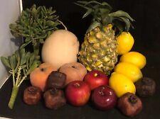 18 Piece Faux Fruit Basket Pineapple Apple Lemon Melon Pomegranate Peach Greenry