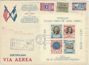 1938 GUATEMALA REGISTERED FDC COVER TO DENVER 150TH US CONSTITUTION ANNIVERSARY