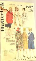 Vtg Butterick 3007 Sewing Pattern Misses Raglan sleeve Coat Size 14 Bust 34