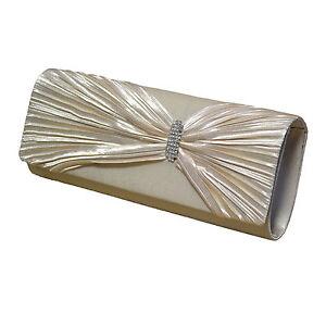 Neu Edle Champagner Abendtasche Damentasche Tasche Clutch Hochzeit Brauttasche