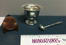 Miniature Silver Bowl and Serving Soup Spoon / Ladle - Larger than Dollhouse (2S