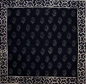 "Primitive Hand Block Printed Cotton Table Napkin 20"" x 20"" Black"