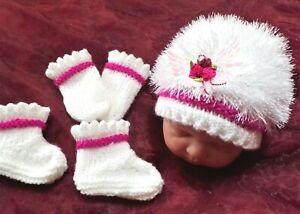 NB bonnet mitten boots set 4 baby / reborn / white fluffy / DEEP pink rose bead