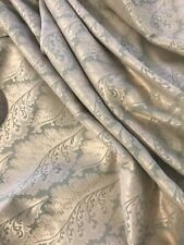 Damask Jacquard Fabric Upholstery Gold Tanquerine Floral Leaves Wave Grey