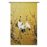 Kyoto Noren Japanese Door Curtain Linen Handpainted Crane Plum Motif Japan
