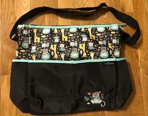 BABY BOOM TOTE/ DIAPER BAG LOTS OF POCKETS W/MONKEY DESIGN Black W/ANIMALS EUC