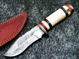 """Authentic HAND FORGED DAMASCUS 9.75"""" HUNTING KNIFE - REAL CAMEL BONE - WD-2191"""