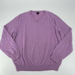 J.Crew Sweater Mens Size Wool XL Purple Pullover V Neck Knit Casual Long Sleeve