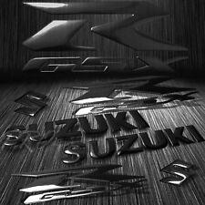 """8"""" ABS Logo+Letter Decal+6.25"""" GSXR Fairing Emblem Sticker Suzuki Glossy Black"""