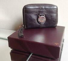 Mulberry Dark Brown Leather Somerset 3/4 Zip-Around Purse+Serial No+Box - FAB!!