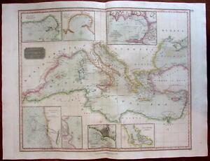 Mediterranean w/ naval war-related harbor insets Gibraltar 1817 Thomson map