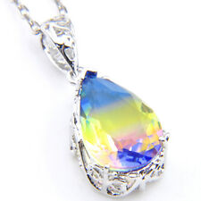 Drop Blue Yellow Fire BI-COLORED Tourmaline 925 Silver Pendants Chain Necklaces