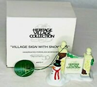 Dept 56 Heritage Village Sign With Snowman 5572-7 Vintage Accessory