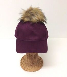 NEW Women Girls Plum Wool Blend With Faux Fur POM Baseball Cap Hat Adjustable