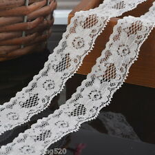 5Yards 3cm Width White Elastic Lace Trim Ribbon Fabric Crafts Sewing Suppies