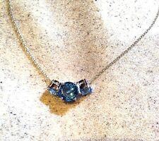 Vintage Genuine Blue Topaz Real White Sapphire 925 Sterling Silver Necklace