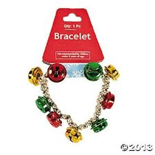 2 JINGLE BELL BEAD BRACELET metal holiday jewelry fashion christmas, stretchable