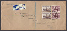South Africa Sc 195-196 on 1953 Registered Air Mail Cover to Belfast, Maine