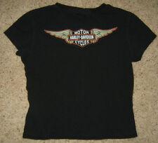 HARLEY DAVIDSON wing top blouse t-shirt BLACK short sleeve 100% Cotton Womens  M