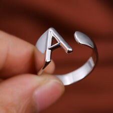 Minimalist A-Z Initial Letter Metal Rings Fashion Silver Gold Open Wedding RingA
