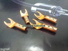 4x Pure Red Copper Speaker Cable Spade Connector Wire Plug