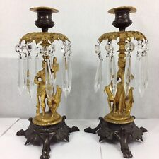 Antique Pair Of Ormolu & Bronze Candlesticks With Glass Lustres Figural 26cm