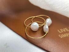 1pcs 11-12MM white Baroque Pearl Ring 18 K Rose Gold Mesmerizing Wedding Elegant