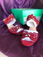 J.Renee Womens Francie Open Toe Special, Brandy Wine Rhinestones, Size 6.5 Red