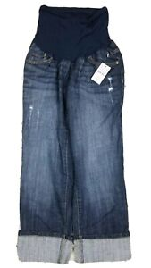 Indigo Blue Maternity Cuffed Capri Blue Jeans Size M NEW
