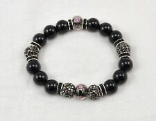 Exclusive 10mm Black Nature Stone & Rose Glass & Shamballa Elastic Bracelet 18