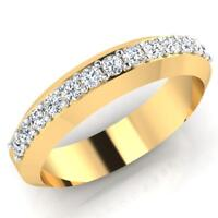 0.39 Ct Round Cut Natural Diamond Wedding Mens Ring 14K Yellow Gold Band Size S