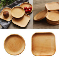 2Pcs Wooden Serving Tray Food Coffee Tea Plate Home Decoration Round/Square