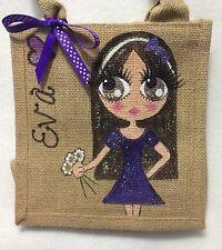 Personalised Little Girl Jute Bridesmaid Mini Handbag Hand Bag Gift Bridesmaid