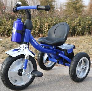 3 Wheeler Kids Tricycle Ride On Air Filled Wheels  Steel Frame Trike Blue Boys