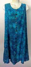 Batik Dress Hawaiian Boho Blue Green Button Front Sleeveless knee length. M