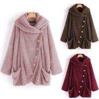 Women Casual Solid Turtleneck Big Pockets Cloak Coats Vintage Oversize Coats AU