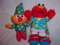 "Tyco 1996 Ernie Sesame Street 2003 Limbo Elmo 9"" Plush Soft Toy Stuffed Animal"