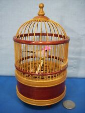Singing Bird In Cage ~ Wind-Up Motion & Chirping Bellows Mechanism Real Feathers