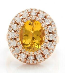 4.71 Carat Natural Yellow Citrine and Diamonds in 14K Solid Rose Gold Ring