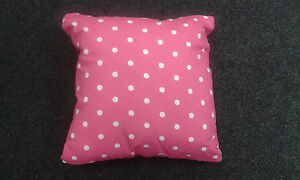 2 X CUSHIONS - PINK WITH WHITE SPOTS