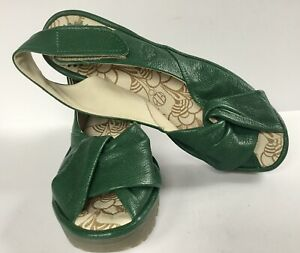 FLY London Yakin Womens Green Leather Wedge Shoes UK Size 6 Eur 39