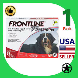 1 Pack FRONTLINE Plus Flea and Tick Treatment for Dogs Up to 89 to 132 lbs, 3 D