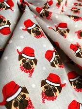 0.4M Grey XMAS Santa Pug DOG Fabric Material POLY COTTON Crafts Quilting 40cm