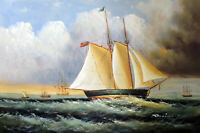 Seascape Sailboat Storm Seas 24X36 Classic Oil On Canvas Painting STRETCHED