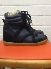 Dorothy Perkins Blue Leather High Wedge Trainer Ankle Boots 5
