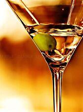 MARTINI CLOSEUP OLIVE DRINK ORANGE COPPER ART PRINT POSTER PICTURE BMP840A