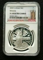 2020 Great Britain 1 oz PROOF Silver Britannia 2£ | NGC PF70 UC | In NGC top 162