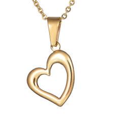 Cute Gold Stainless Steel Heart Love Pendant Heart Choker Women Necklace Jewelry