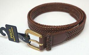 POLO RALPH LAUREN Mens Cognac Tan Braided Leather Belt NWT $65