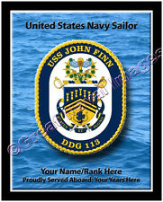 USS John Finn DDG 113 Personalized Ship Crest Print on Canvas 2D Effect